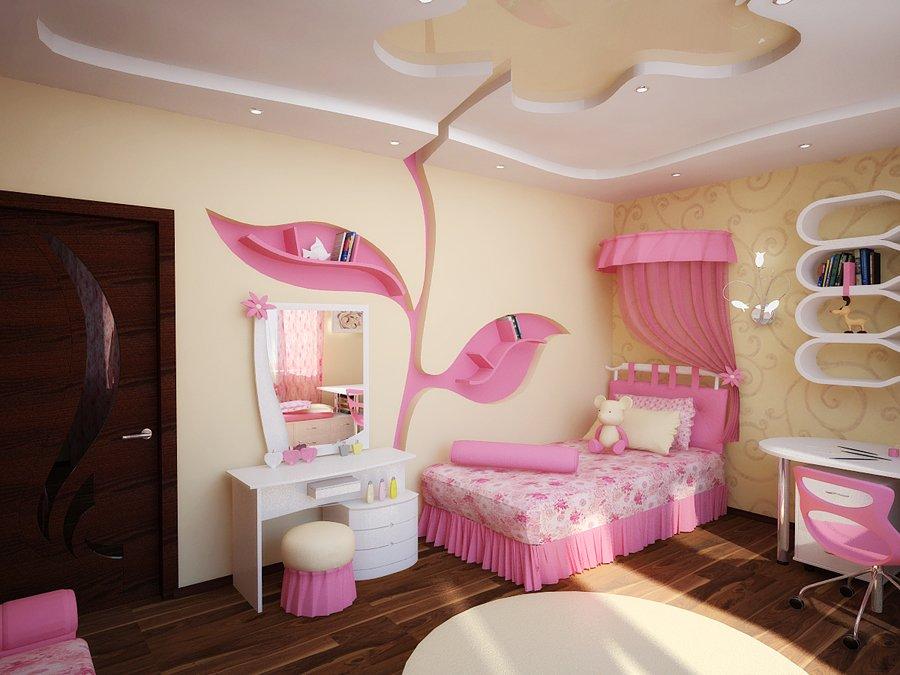 Уютный интерьер комнаты для девочек в розовых тонах