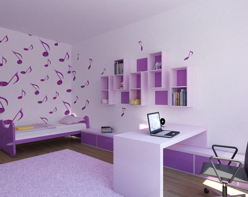 Интерьер детской комнаты для девочки в сиреневых тонах