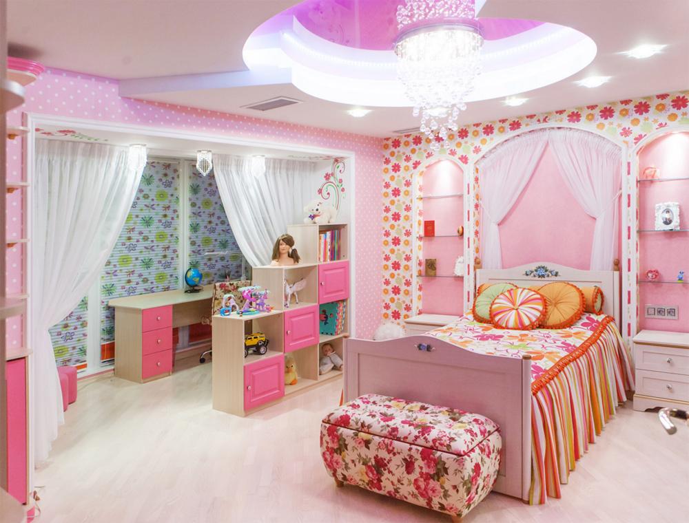 Цветочки в интерьере детской комнаты для девочек