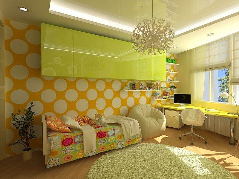 Интерьер детской комнаты для девочки в зелено-желтых тонах
