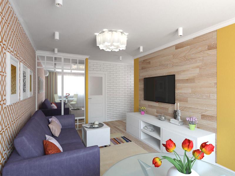 Уютный дизайн гостиной в хрущевке