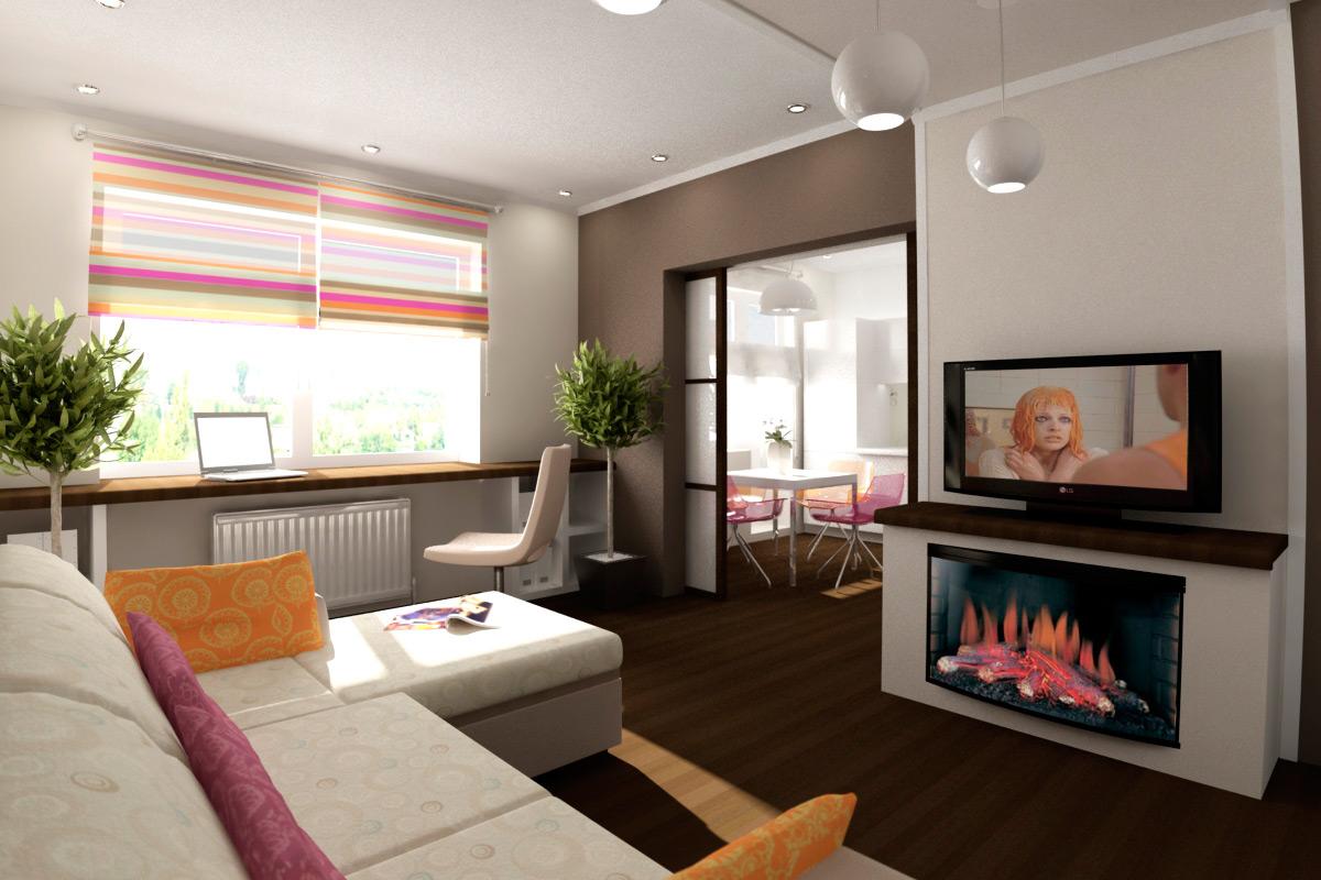 Римские шторы в интерьере маленькой гостиной