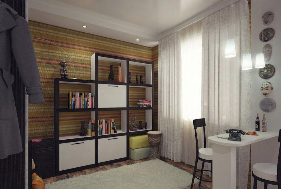 Контрастные элементы дизайна квартиры в хрущевке