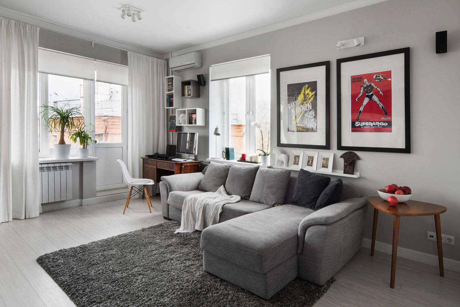 Интерьер гостиной квартиры-студии в хрущёвке