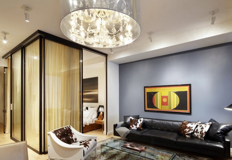 Использование перегородки в интерьере гостиная-спальня