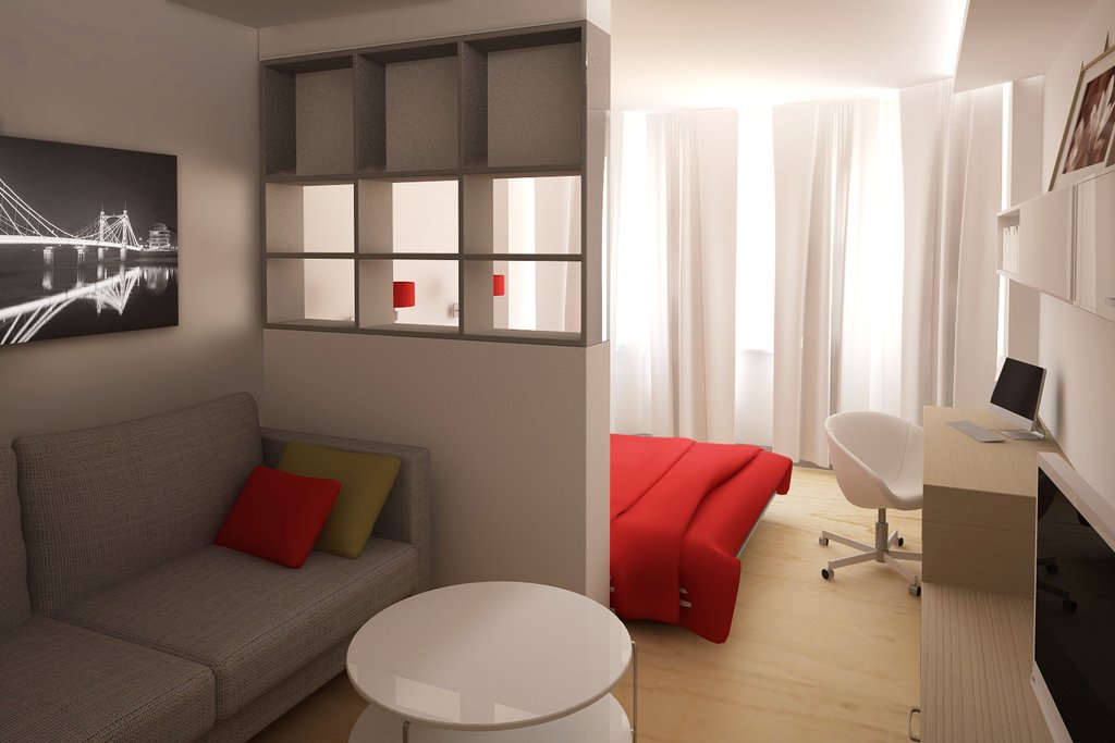 Лучше всего спальное место оградить шторой или перегородкой