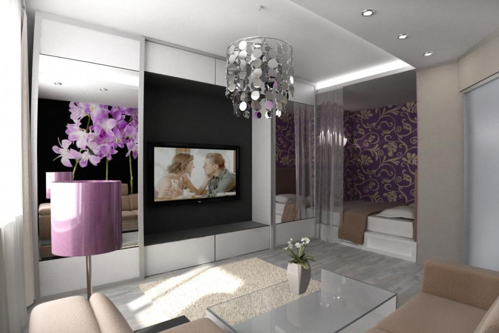 Телевизор на стене в гостиной-спальни