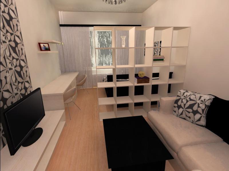 Стеллаж для зонирования гостиной от спальни
