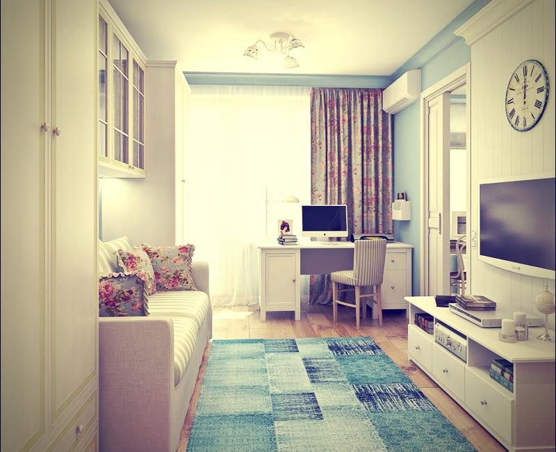 Светлая мебель для увеличения пространства гостиной в хрущевке
