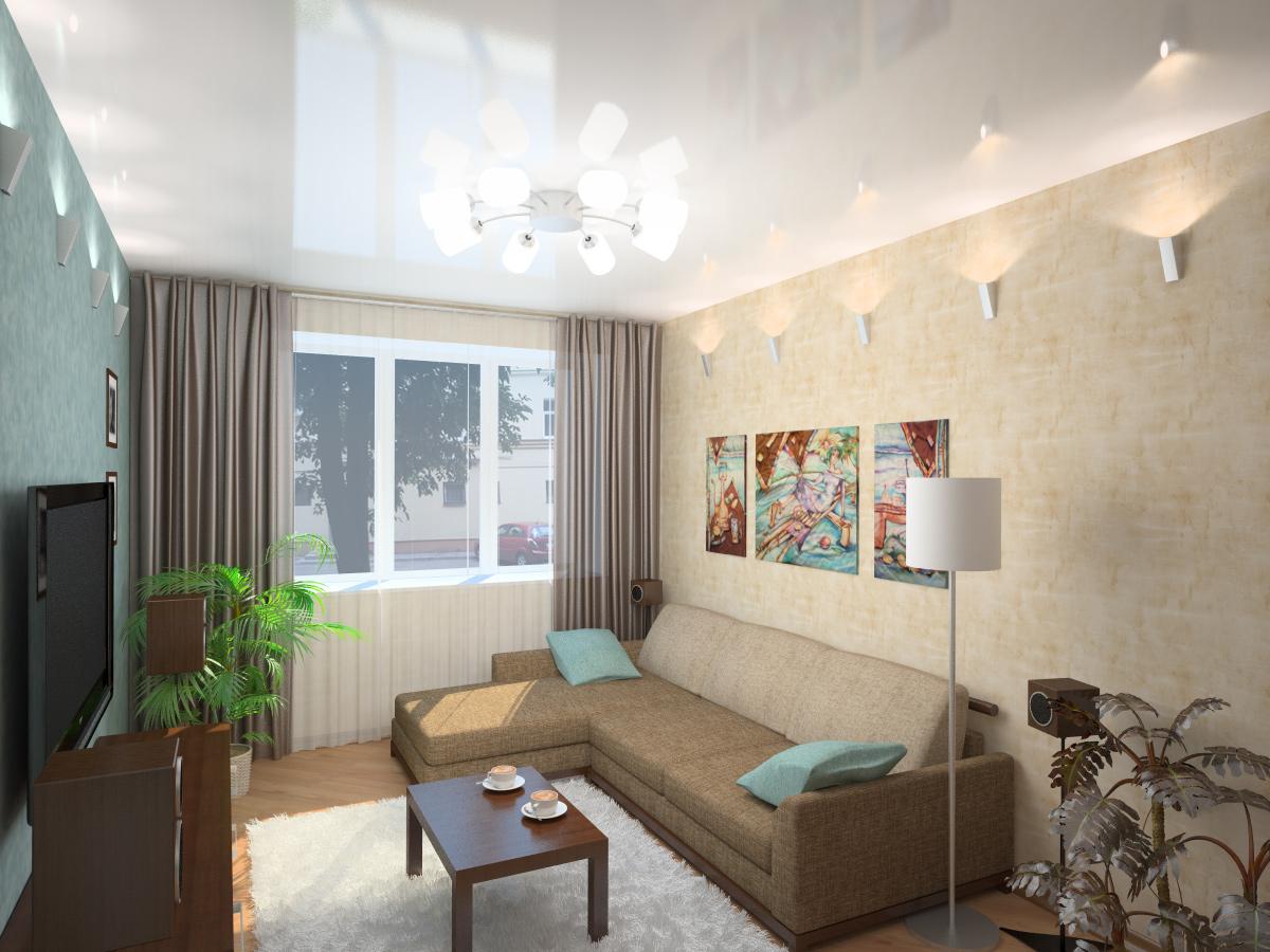 Угловой диван в интерьере гостиной в хрущевке