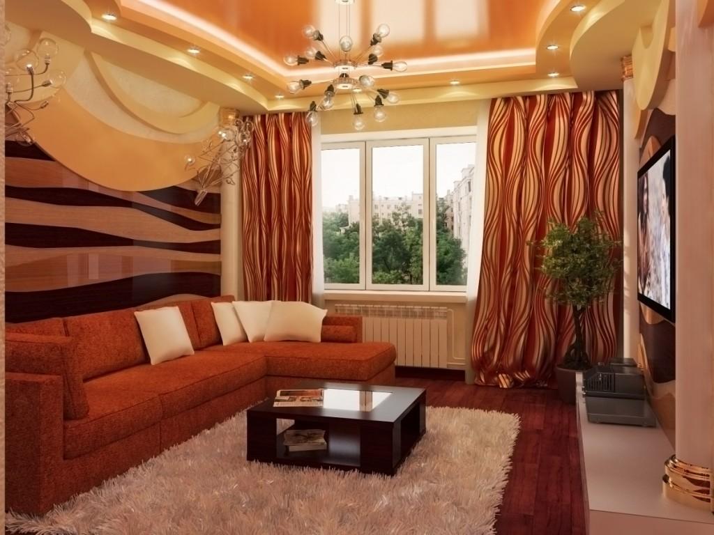 Дизайн гостиной в хрущевке в коричневых тонах
