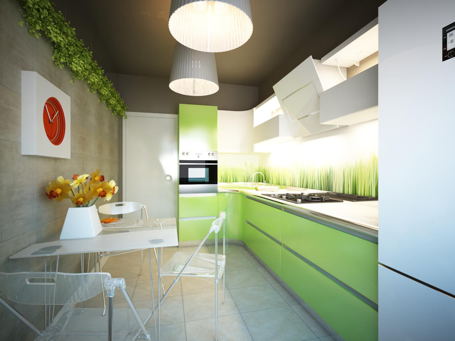 Использование стеклянной мебели в эко-кухне