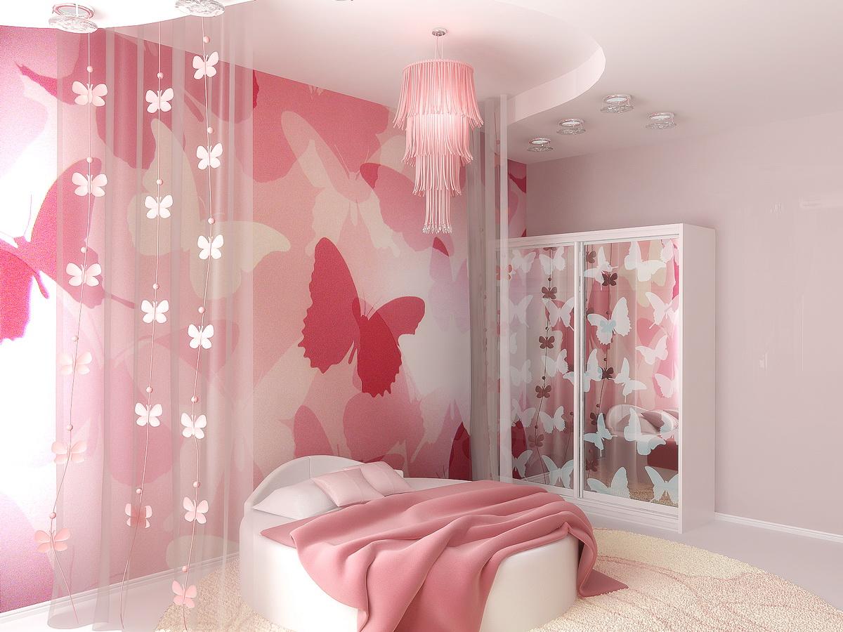 Воздушный дизайн комнаты для девочки-подростка с бабочками на стенах