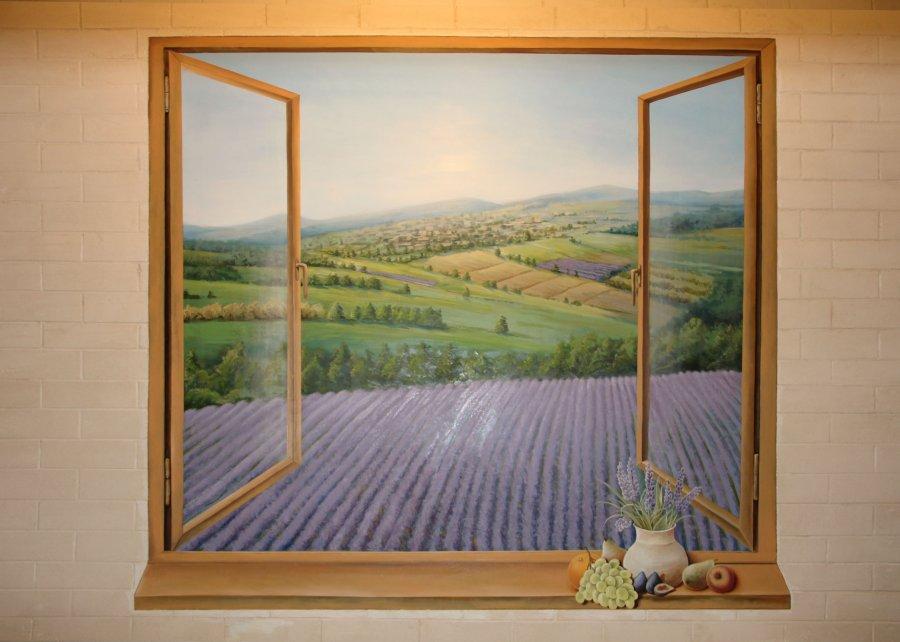 В городской кухне хорошо смотрится пейзаж на стене