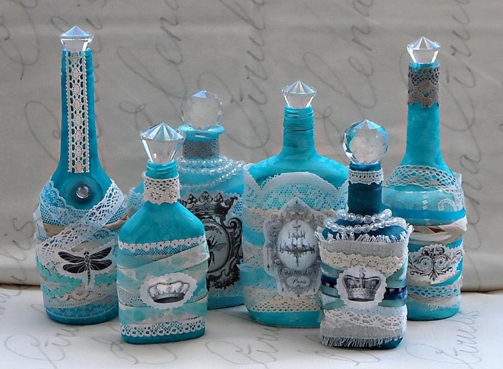 Декорированные бутылки отлично впишутся в интерьер кухни