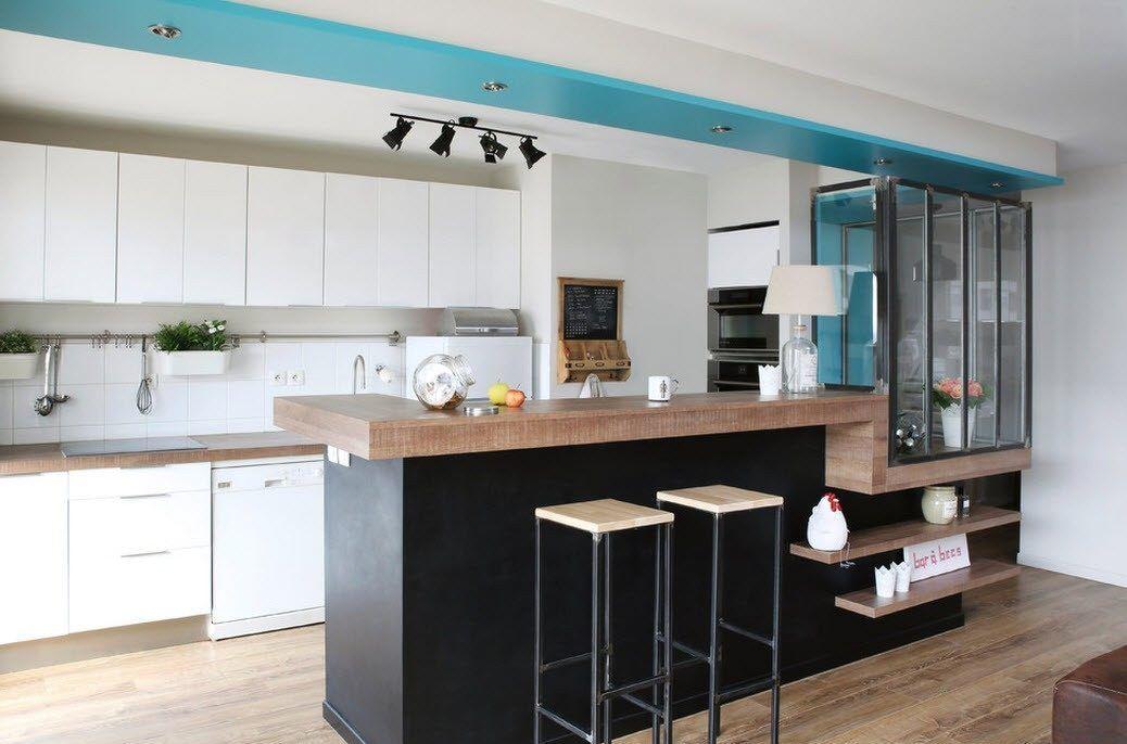 Дизайн гостиной с барной стойкой в стиле хай-тек