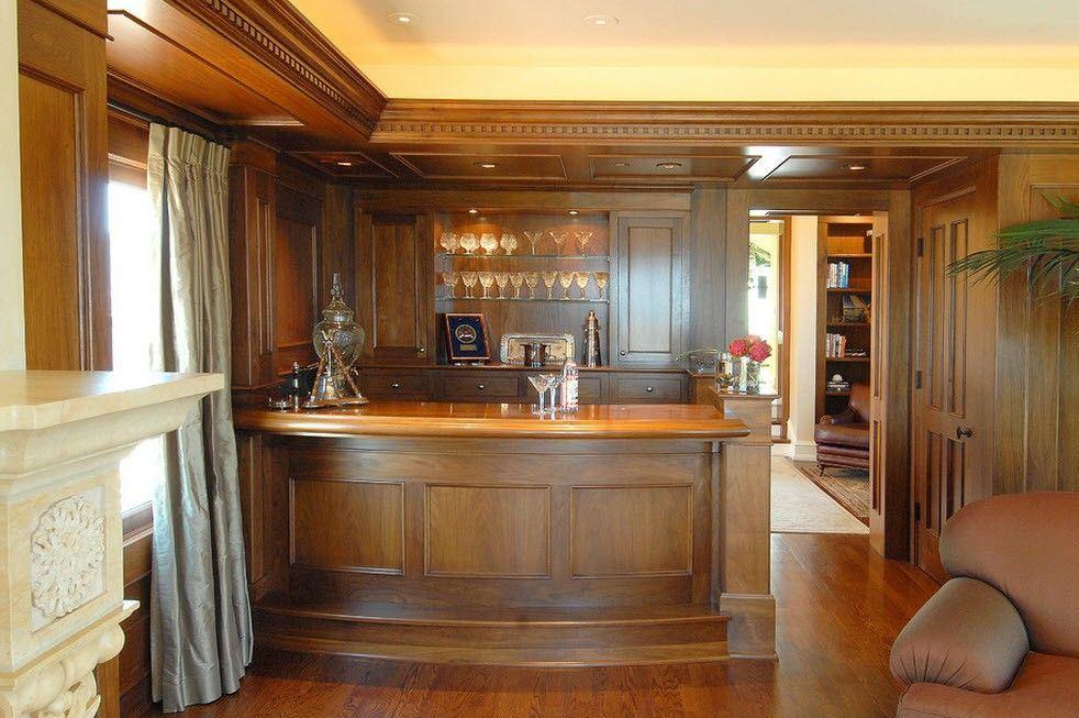 Эксклюзивная барная стойка-бочка в интерьере гостиной