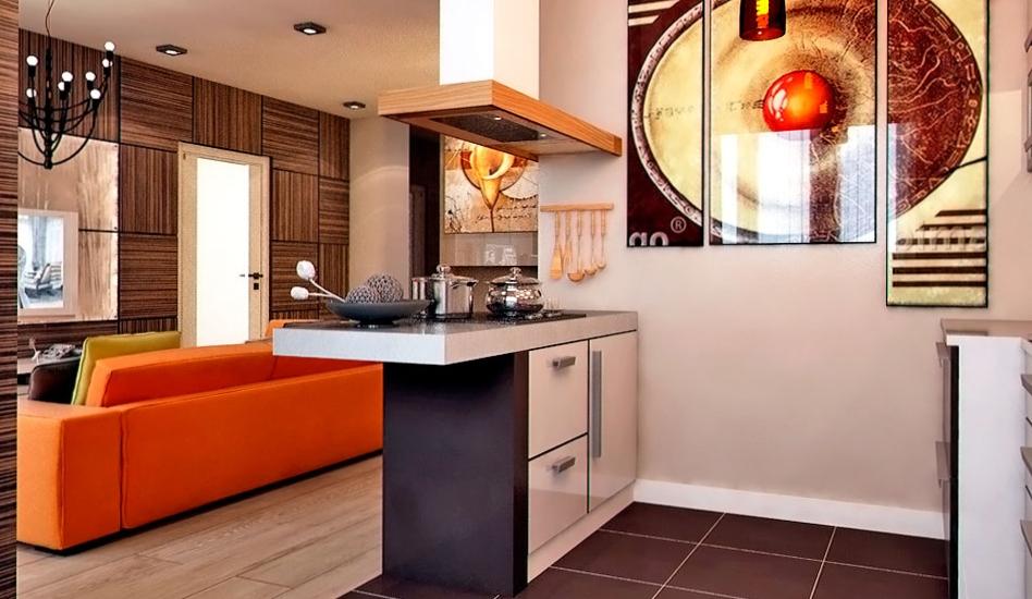 Барная стойка между гостиной и кухней