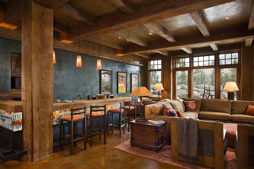 Интерьер гостиной с барной стойкой в коричневых тонах