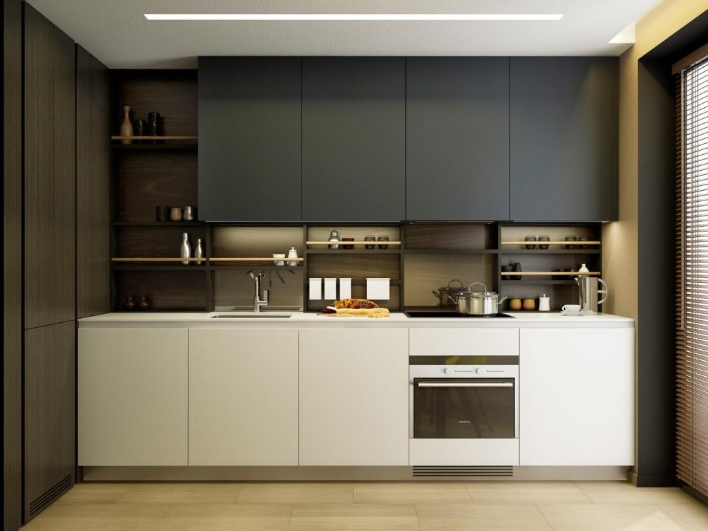 Интерьер маленькой кухни в черно-белых тонах