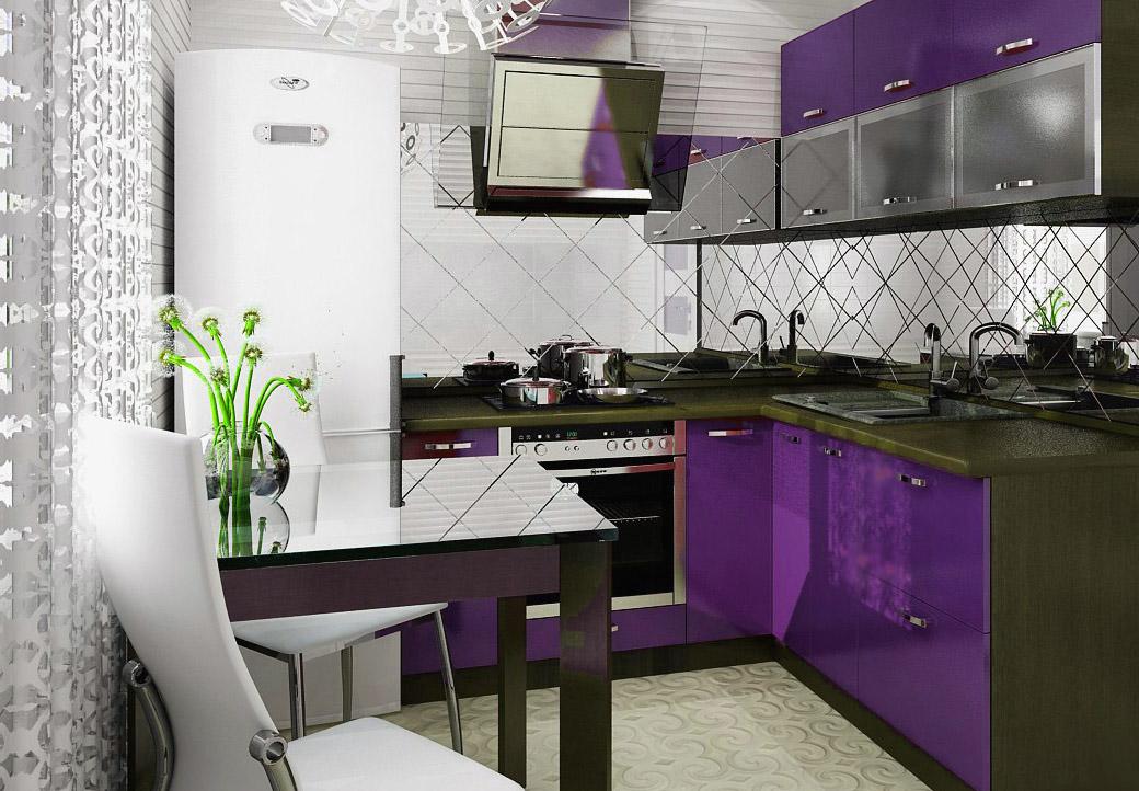 Простенький вариант оформления интерьера маленькой кухни