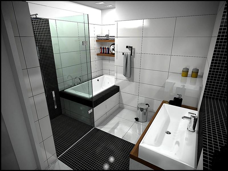 Дизайн ванны в черно-белых тонах