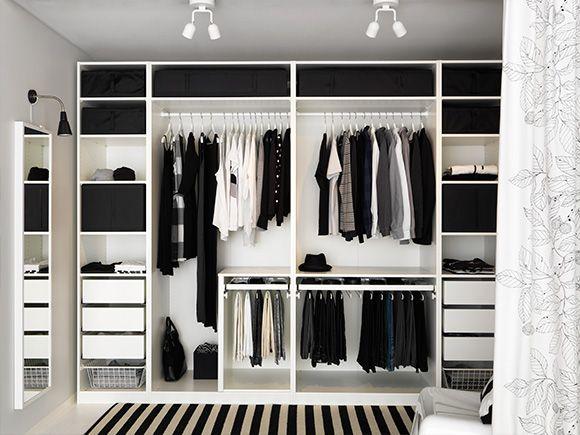 Черно-белая гардеробная комната