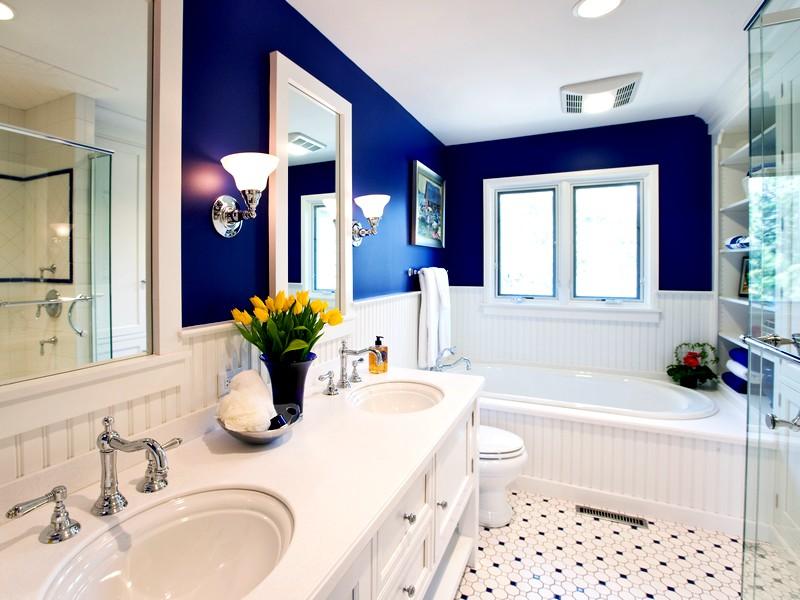 ванная комната в бело-синих тонах