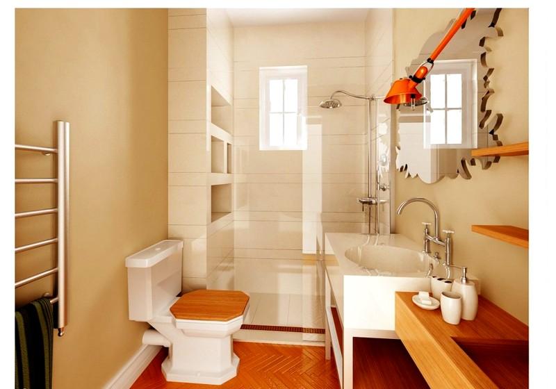 дизайн ванной комнаты с крашеными стенами в стиле хай-тек