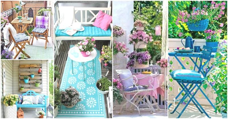 оформление балкона цветами