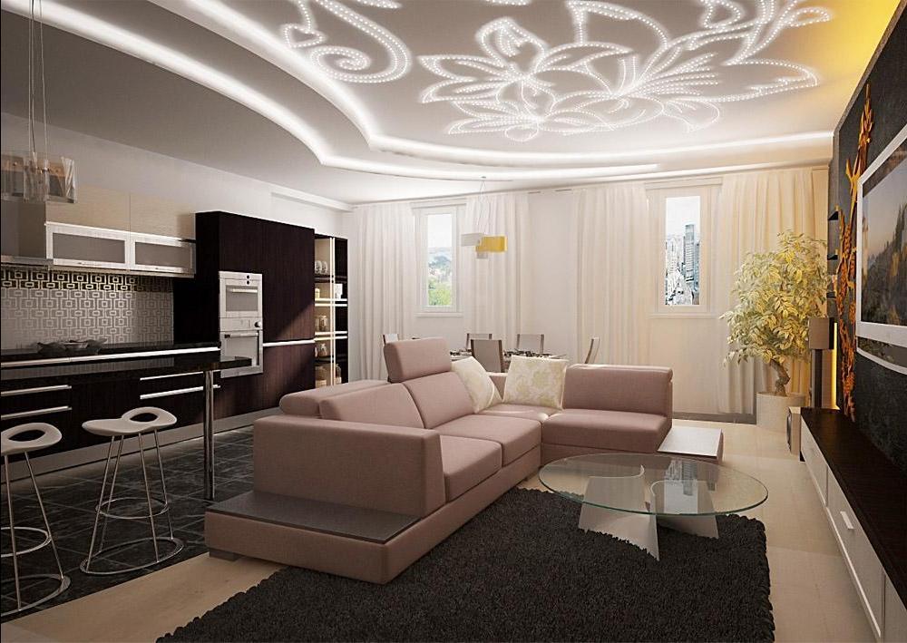 Стильный дизайн потолка в современной гостиной