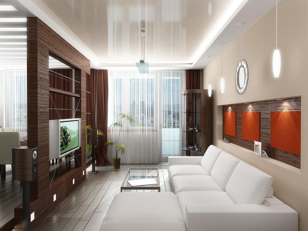 Комбинированный потолок в гостиной