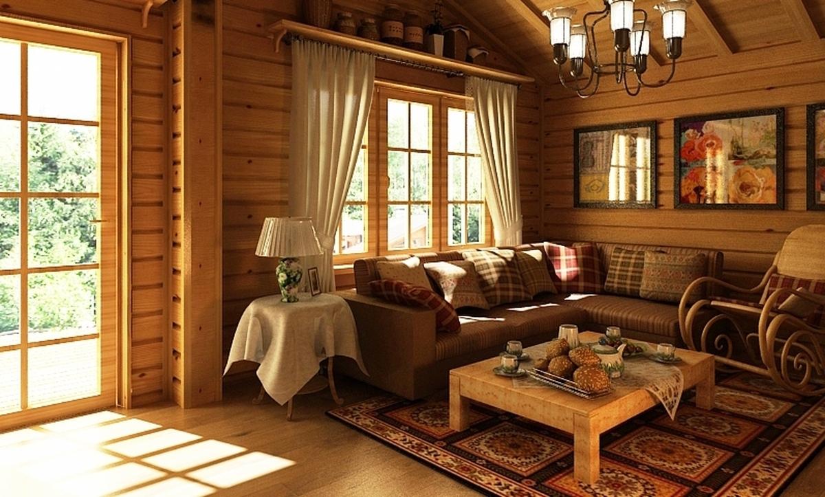 Дизайн внутри частного деревенского дома в русском стиле