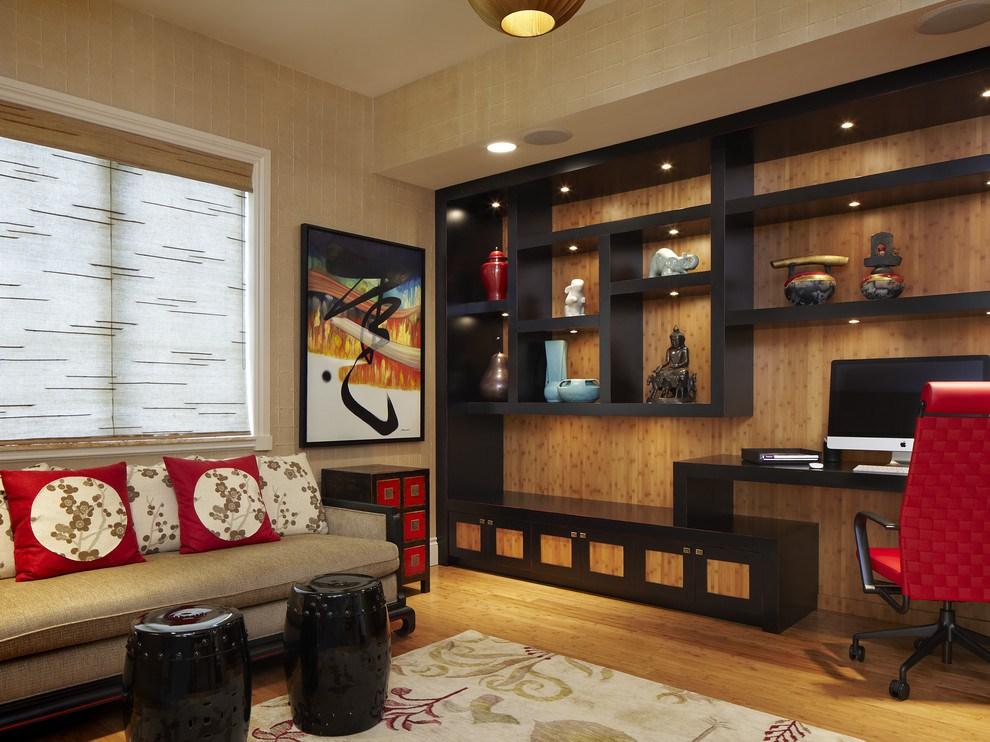 Бамбуковые вставки в интерьере гостиной