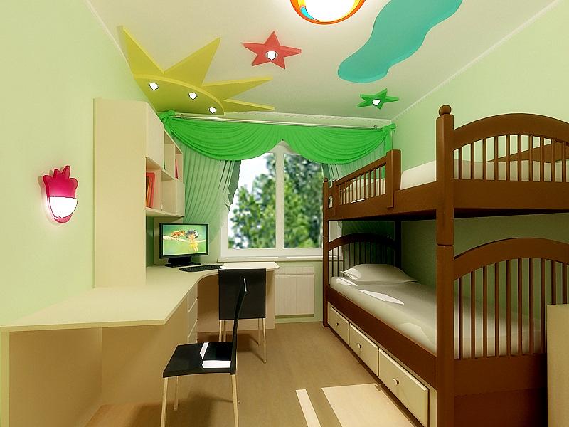 Интерьер узкой и длинной детской комнаты