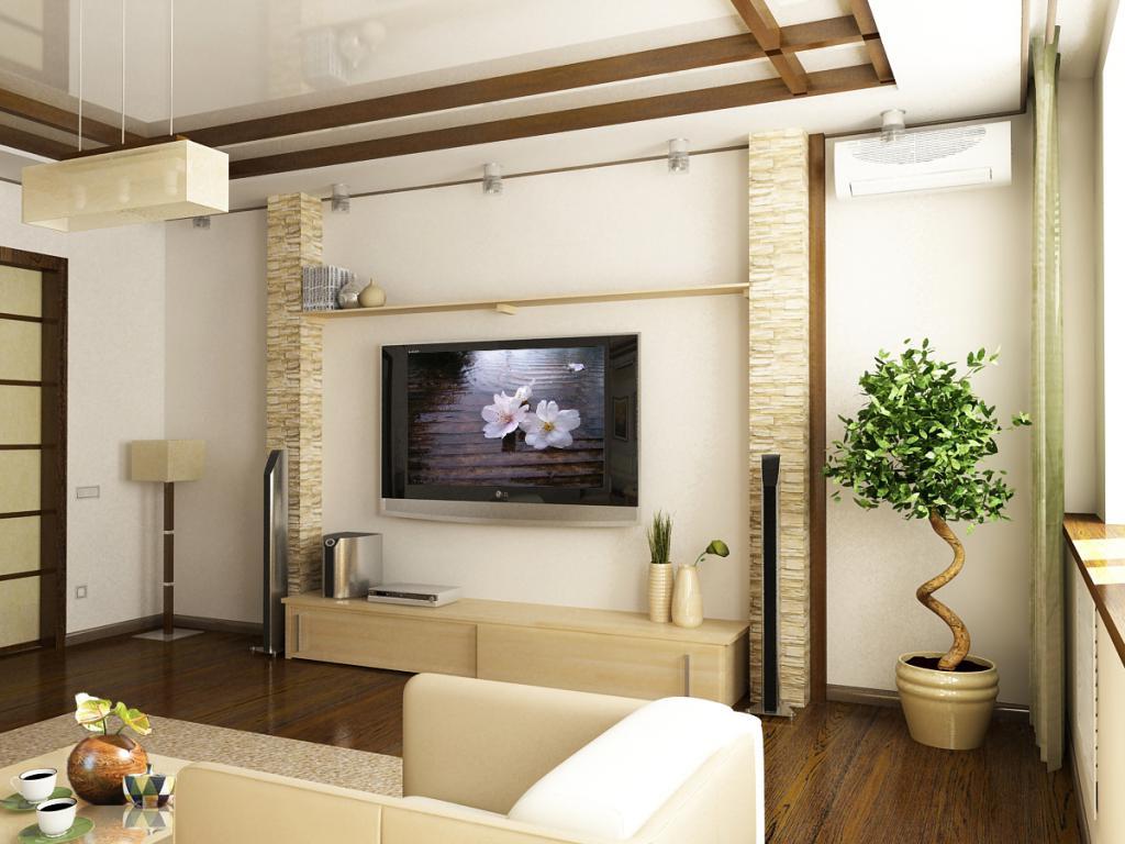 Интерьер небольшого зала в японском стиле