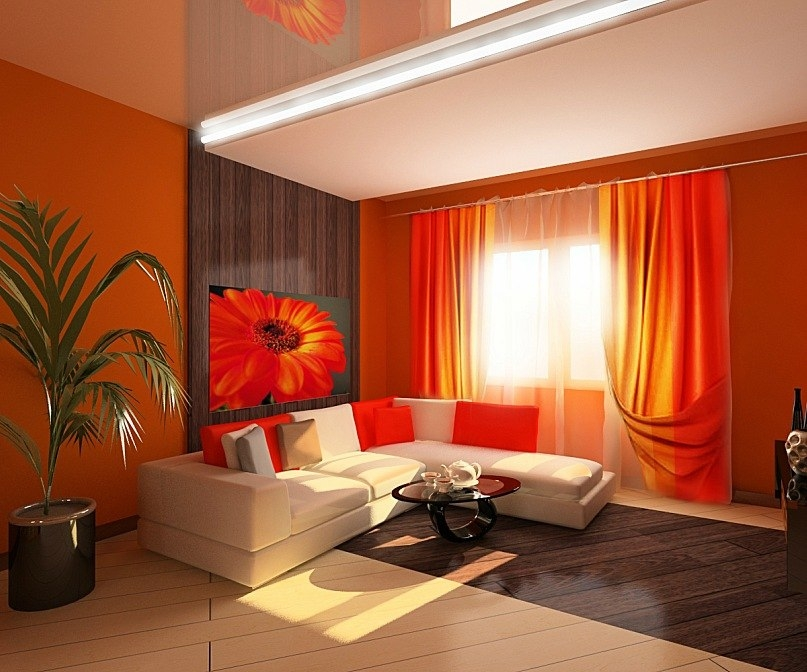 Дизайн интерьера зала в ярких тонах
