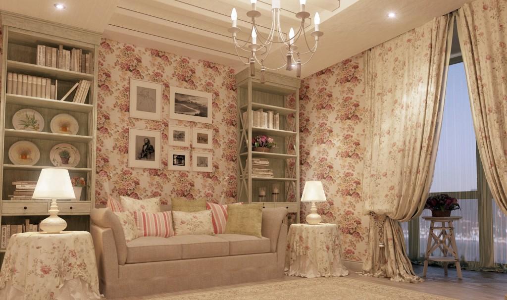 Интерьер зала в стиле шебби шик