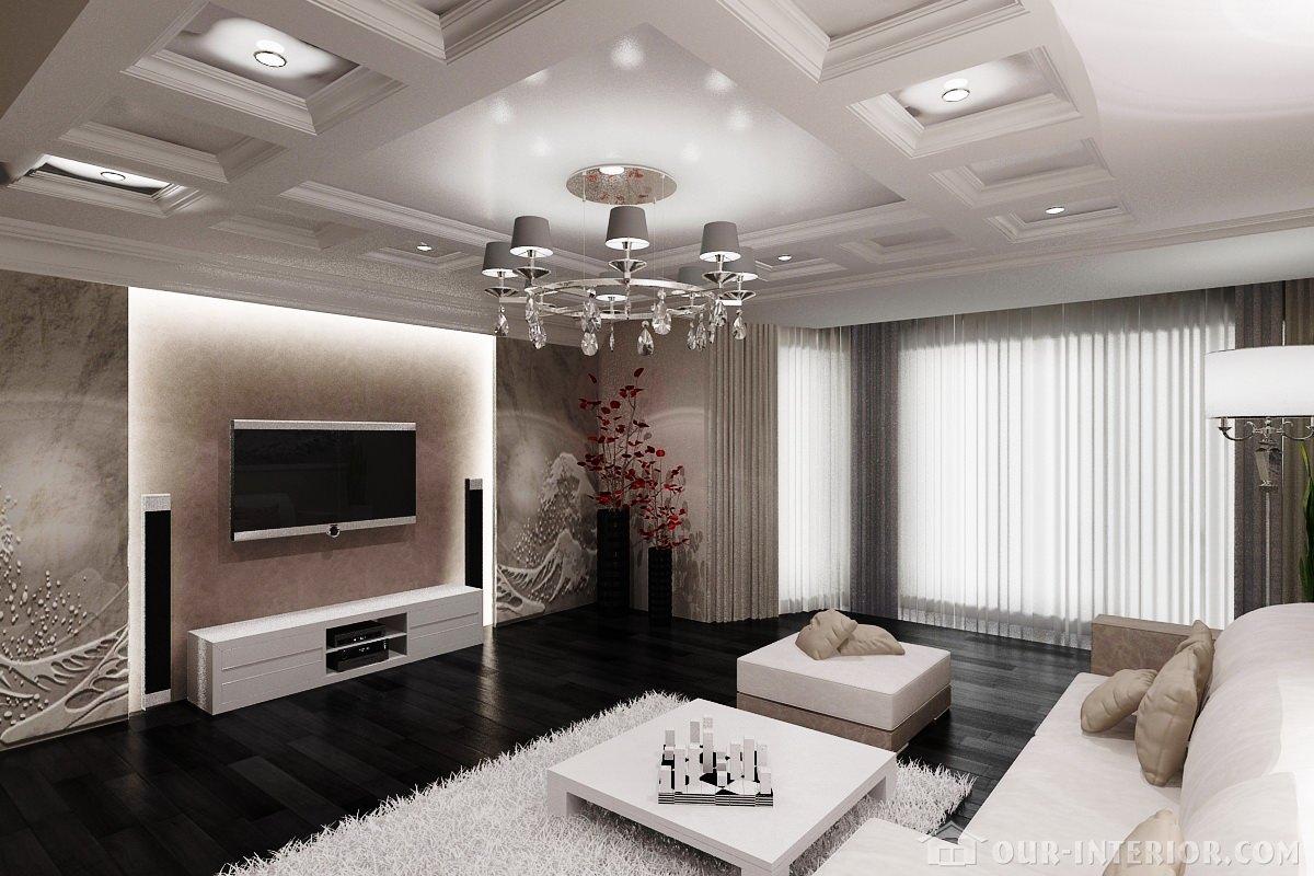 Дизайн интерьера зала в черно-белых тонах