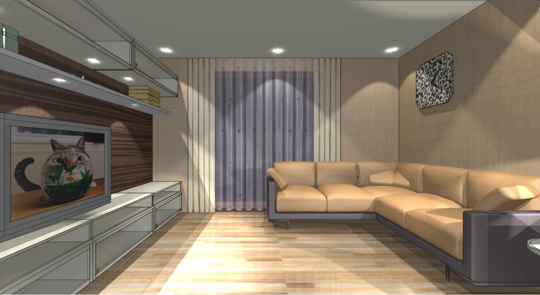 Интерьер зала в стиле минимализм
