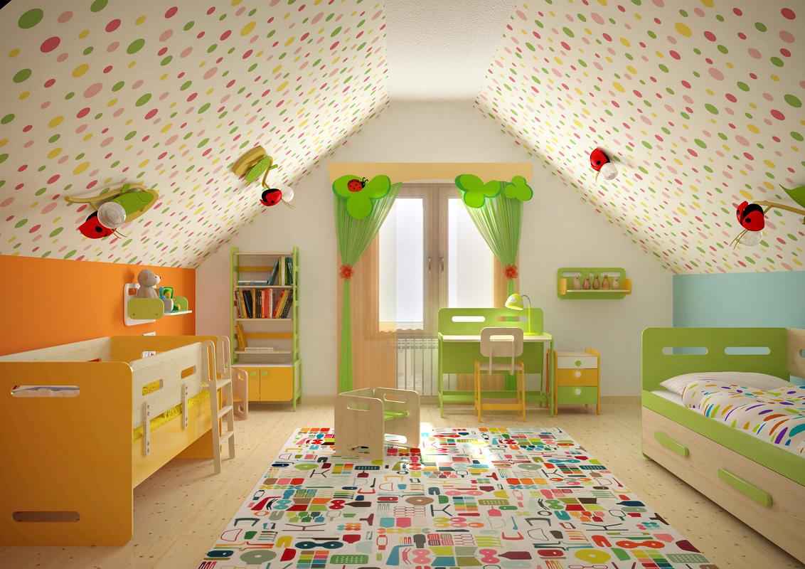 Яркий дизайн детской комнаты на мансарде