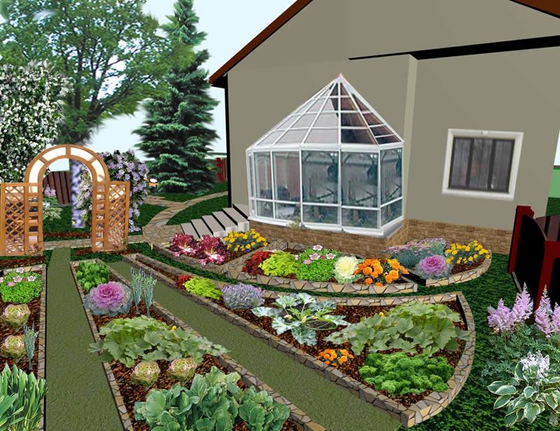 Совмещение цветов и овощей на грядке