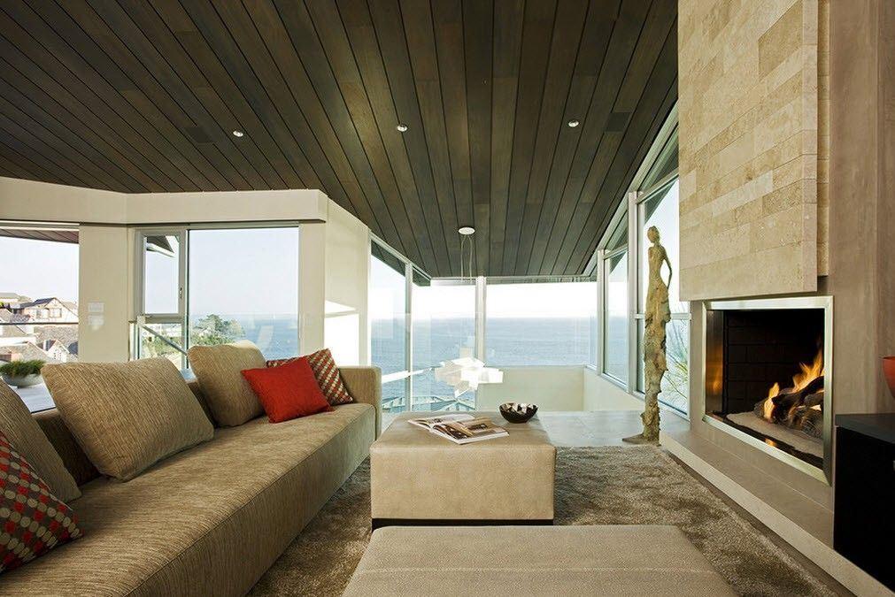 Современная облицовка потолка в гостиной