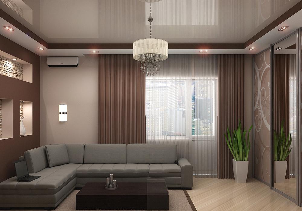 Дизайн подвесных потолков в гостиной