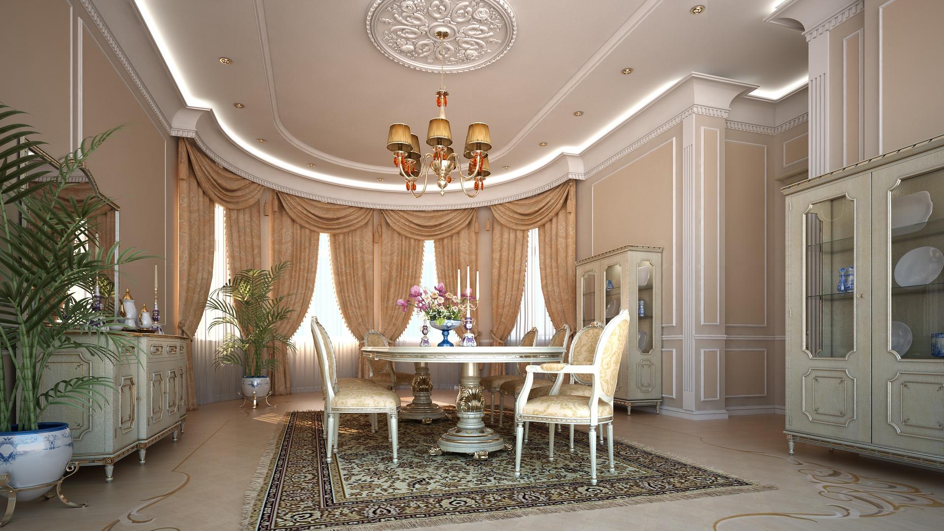 Дизайн потолка эркера в гостиной комнате
