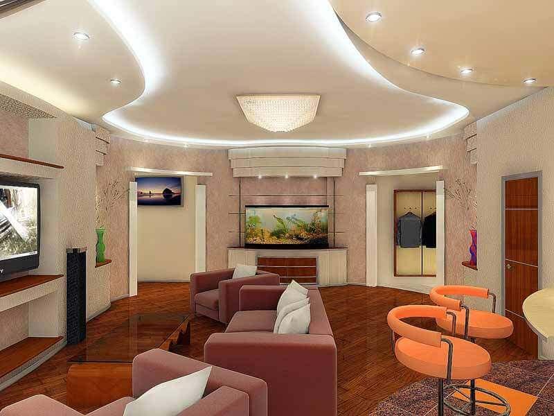Точечные лампы в гостиной