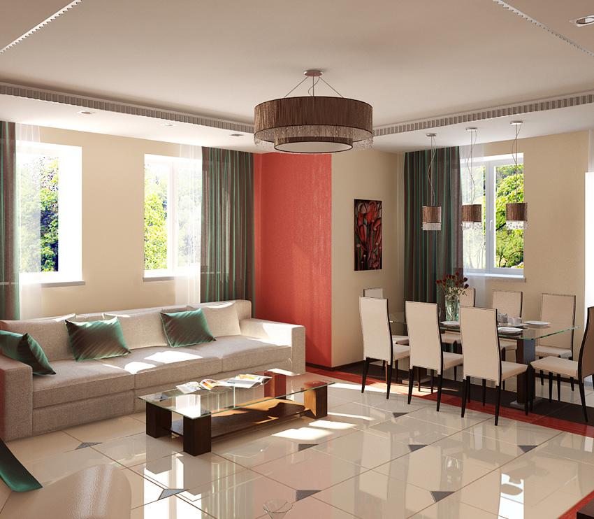 Подвесной светильник в гостиной