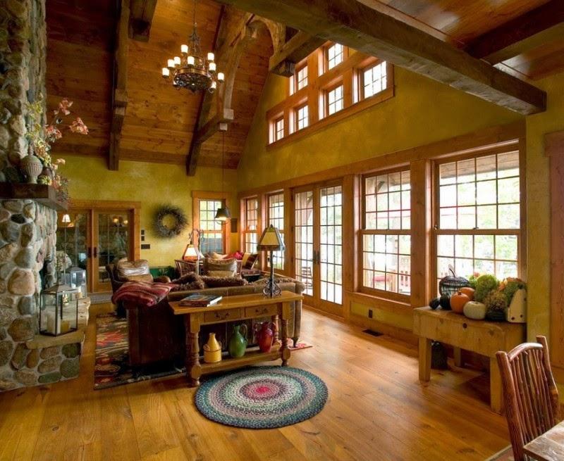 Кантри отличается наличием ярких и броских оттенков текстиля