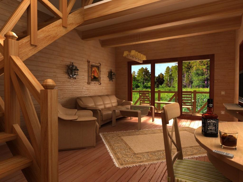 Стиль шале предполагает отделку пола и потолка древесиной