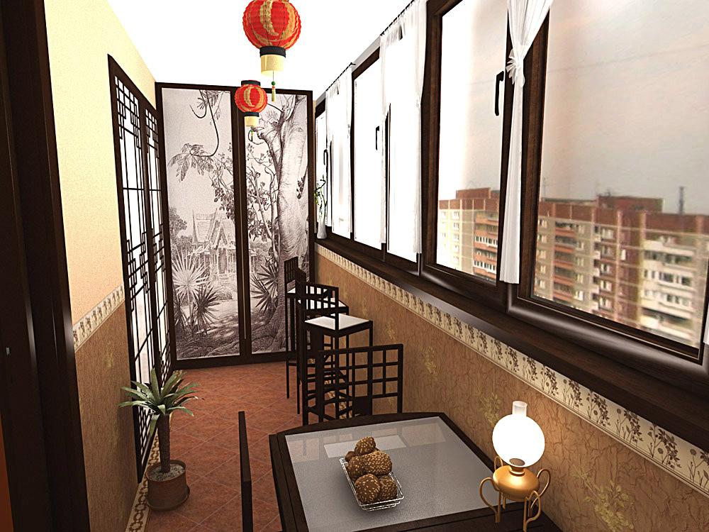 Оформление столовой на балконе в китайском стиле